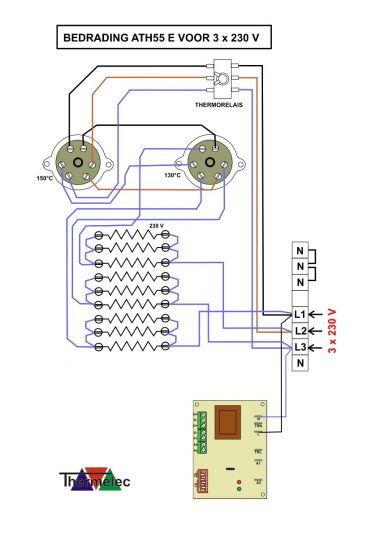 Bedrading ATH55 E voor 3x230V